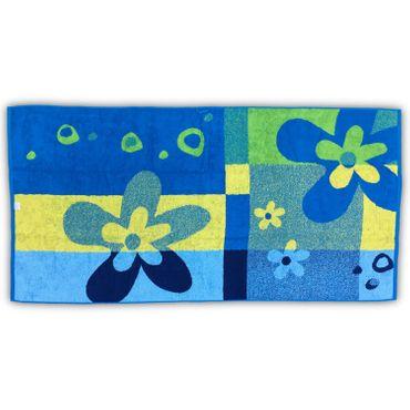 Jacquard Baumwolle Strandlaken Flower blau gelb grün 80x160 cm – Bild 3