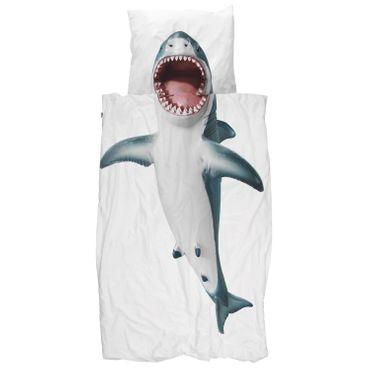 Snurk Bettwäsche Shark Blau Weiß Perkal – Bild 1