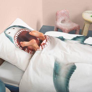 Snurk Bettwäsche Shark Blau Weiß Perkal – Bild 8