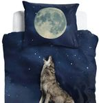 ESPiCO Wende Bettwäsche Sleep and Dream Wolf Himmel Mond Sterne Nacht Vollmond Renforcé