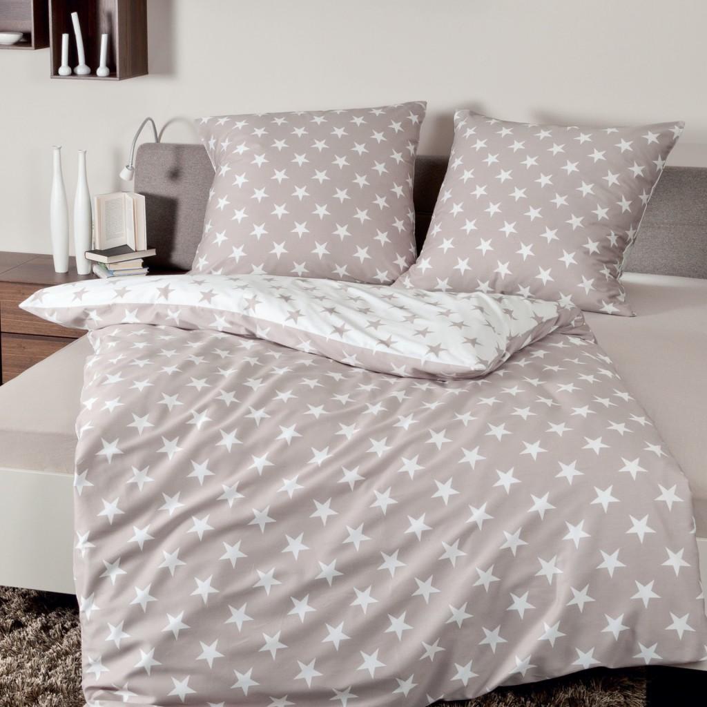 janine bettw sche davos 6466 07 sterne taupe feinbiber. Black Bedroom Furniture Sets. Home Design Ideas
