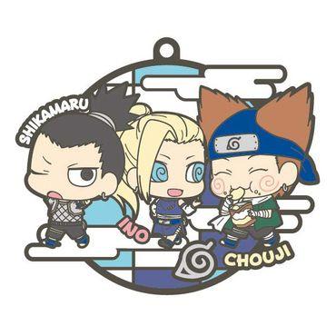 Naruto Shippuden Rubber Mascot Buddy Colle Three Man Cell Dattebayo! Hen Gummi Anhänger: #2 Shikamaru, Chouji & Ino