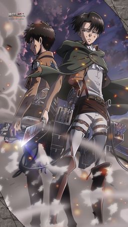 Attack on Titan [Shingeki no Kyojin] Stoffbanner: Eren Jäger & Levi Ackermann