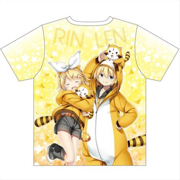Hatsune Miku × Rascal the Raccoon Full Graphic T-Shirt: Hatsune Miku, Rin und Len – Bild 2
