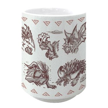 Monster Hunter: World 280ml Keramik Tasse: Japanese Pattern [Rot]
