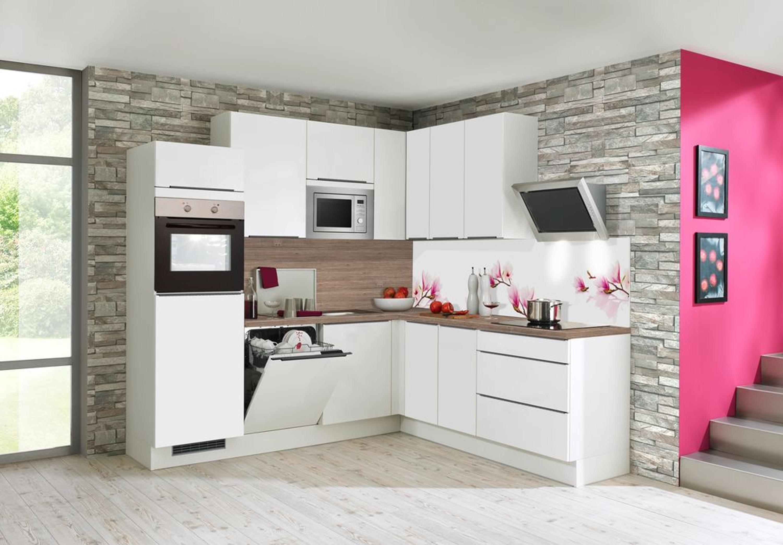 Küche L-Form Front in Weiß matt und Arbeitsplatte in Kamineiche-Nb. 245 cm  x 225 cm
