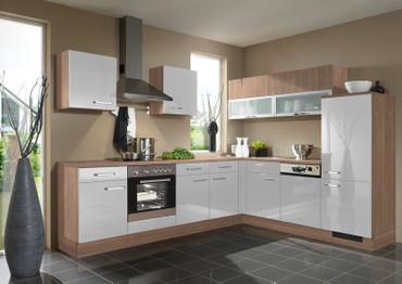 Küche L-Form Front in Hellgrau Hochglanz und Havanna Eiche-NB. 245 cm x 275 cm