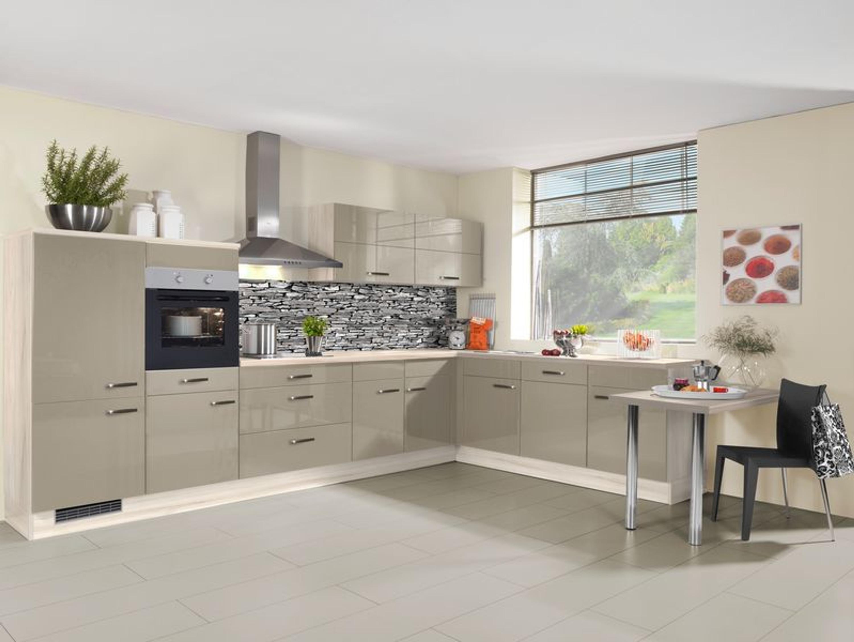 Küche L-Form Front in Champagner metallic Hochglanz 245 cm x 375 cm