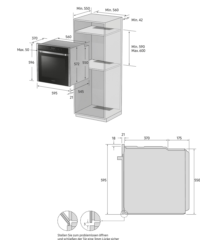 Samsung Einbaubackofen, 64 ℓ, A*, Katalyse + Dampfreinigung NV66M3571BS/EG