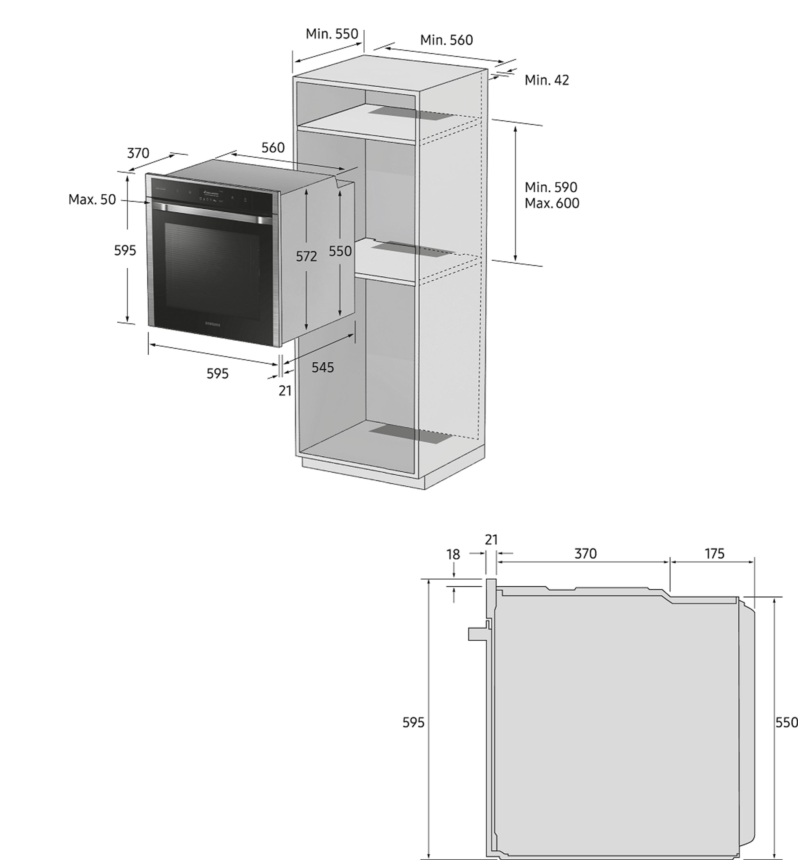 Samsung NV75K5571BS/EG Einbaubackofen X 75 ℓ, A*, Pyrolyse, Dual CookTM