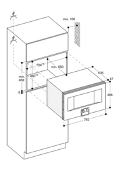 Gaggenau Mikrowellen-Backofen Edelstahl-hinterlegte Vollglastür Breite 76 cm Rechtsanschlag Bedienung unten BM 484 110 Serie 400