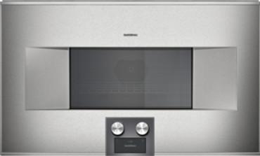 Gaggenau Mikrowellen-Backofen BM 485 110 Edelstahl-hinterlegte Vollglastür Breite 76 cm Linksanschlag Bedienung unten Serie 400