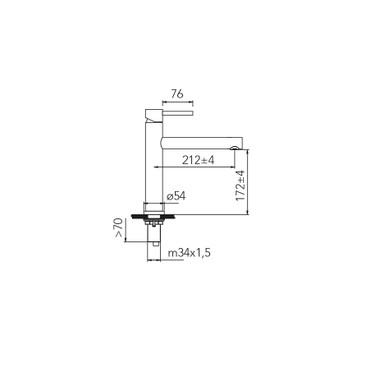 Caressi Black-Line Armatur CA116BK ECO, Küchenarmatur, schwarz, wassersparend
