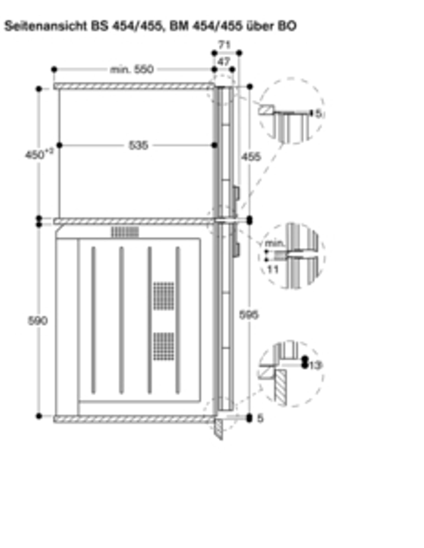 Gaggenau Mikrowellen-Backofen Edelstahl-hinterlegte Vollglastür Breite 60 cm Linksanschlag Bedienung oben BM 451 110 Serie 400