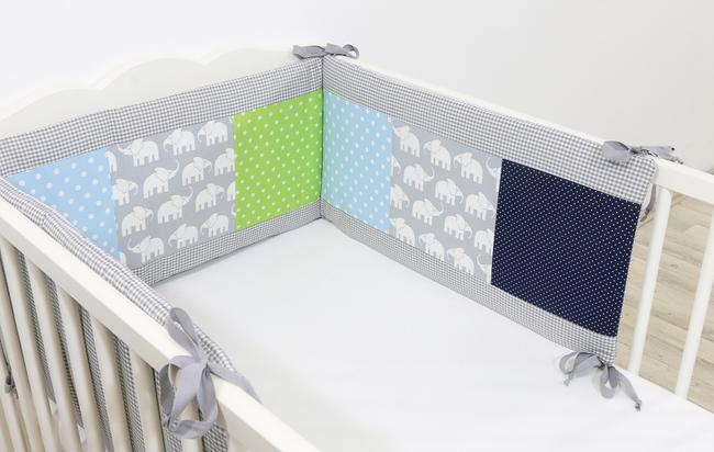 Patchwork Nestchen für Babybett 120x60 und 140x70 cm ELEFANT BLAU GRÜN