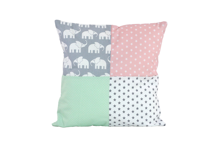 patchwork kissen mit f llung 40x40 cm elefant mint rosa kinderzimmer ausstattung kissen mit. Black Bedroom Furniture Sets. Home Design Ideas