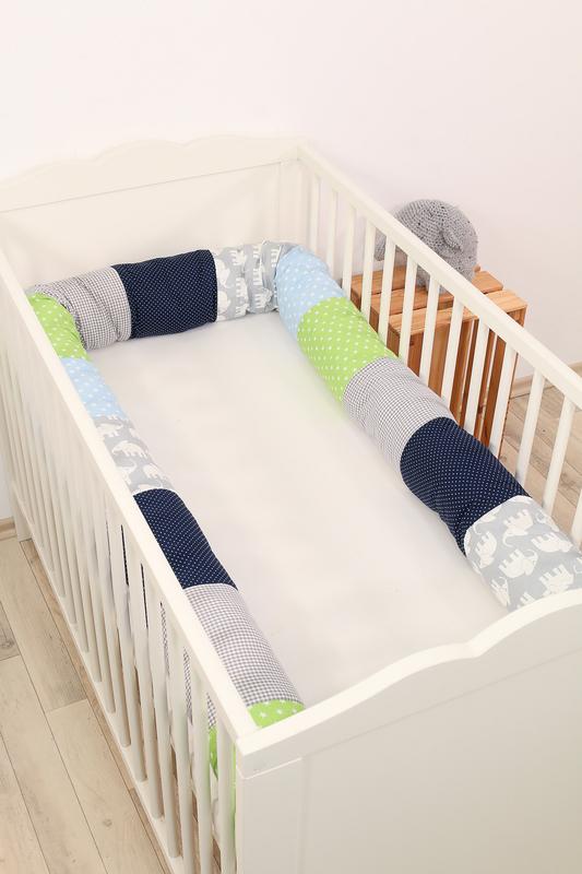 Baby Bettschlange ELEFANT BLAU GRÜN