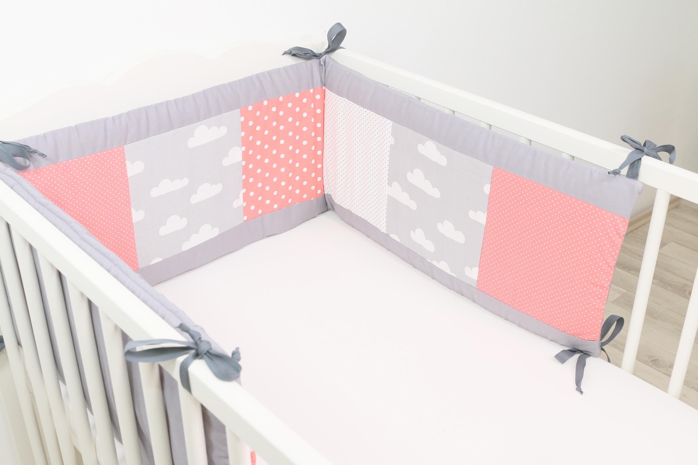 patchwork nestchen f r babybett 120x60 und 140x70 cm coral wolken schlafen kuscheln nestchen. Black Bedroom Furniture Sets. Home Design Ideas