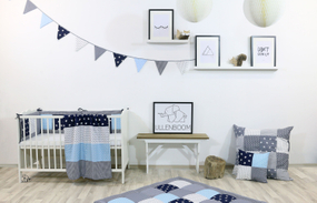 Kinder Bettwäsche-Set 100x135 cm und Kissenbezug 40x60 cm - BLAU HELLBLAU GRAU