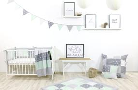 Kinder Bettwäsche-Set 100x135 cm und Kissenbezug 40x60 cm - MINT GRAU