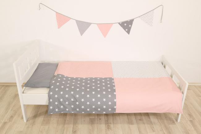 Kinder Bettwäsche Set 100x135 Cm Und Kissenbezug 40x60 Cm Rosa Grau