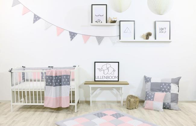 Kinder Bettwäsche-Set 100x135 cm und Kissenbezug 40x60 cm - ROSA GRAU