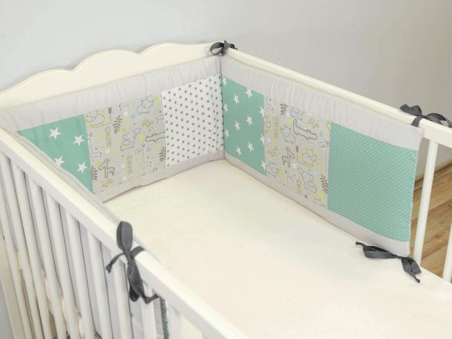 Patchwork Nestchen für Babybett 120x60 und 140x70 cm SAFARI PFEFFERMINZ