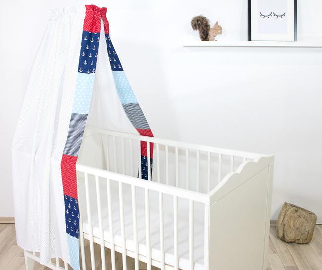 Patchwork Baby-Betthimmel 135x200 cm ANKER ROT BLAU 001