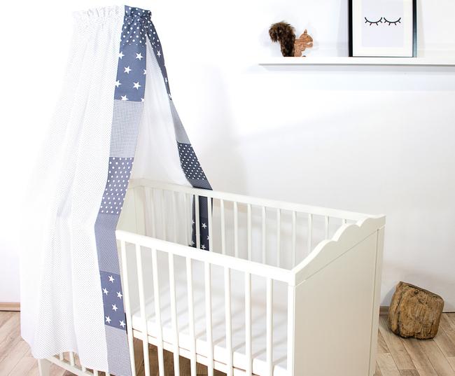 Patchwork Baby-Betthimmel 135x200 cm GRAUE STERNE