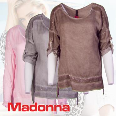 Madonna Basima Loose Fit Bluse Chiffonshirt Rundhals Langarm Kurzarm T Shirt Oberteil – Bild 1