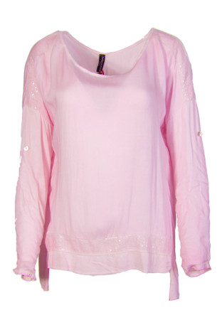 Madonna Basima Loose Fit Bluse Chiffonshirt Rundhals Langarm Kurzarm T Shirt Oberteil – Bild 6