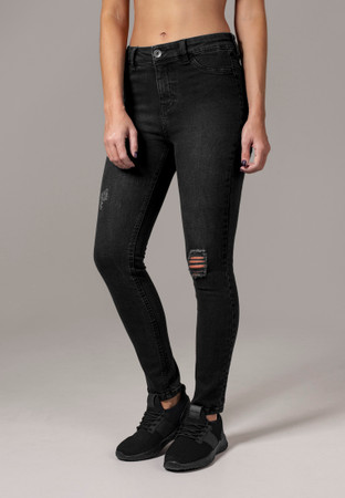 Urban Classics Damen Hose Ladies High Waist Skinny Denim Pants – Bild 1