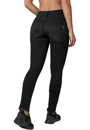 Urban Classics Damen Hose Ladies High Waist Skinny Denim Pants – Bild 3