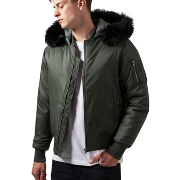 Urban Classics Hooded Basic Bomber Jacket – Bild 1