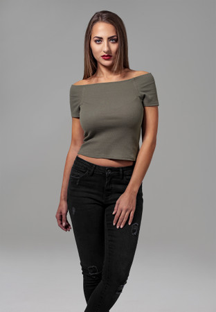 Urban ClassicsLadies Off Shoulder Rib Tee – Bild 1