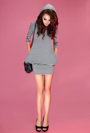 Numoco Kleid mit Kapuze graue Streifen – Bild 2