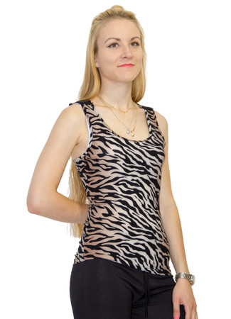 Madonna Sexy Damen Tank Top Tiger Look mit Stickerei – Bild 5