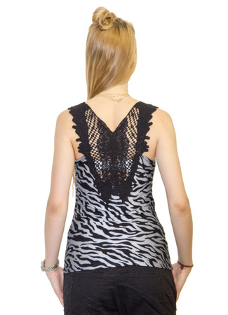 Madonna Sexy Damen Tank Top Tiger Look mit Stickerei – Bild 3