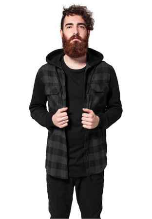 Urban Classics TB513 Herren Regular Fit Freizeit Hemd Hooded Checked Flanell Sweat Sleeve Shirt – Bild 1