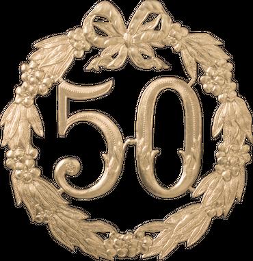 Festliche Zahl gold 50 Ø 24cm