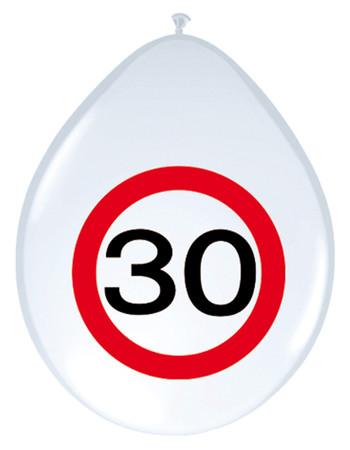 8 Ballons Verkehrsschild 30
