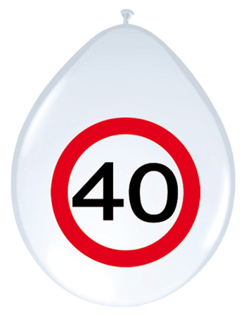 8 Ballons Verkehrsschild 40