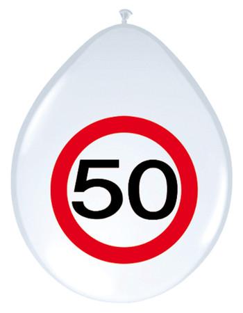 8 Ballons Verkehrsschild 50