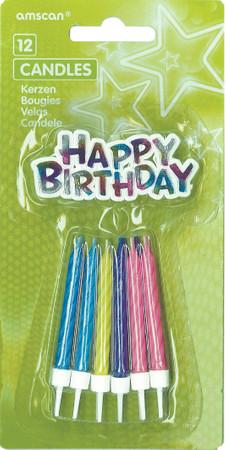 12 Geburtstagskerzen bunt