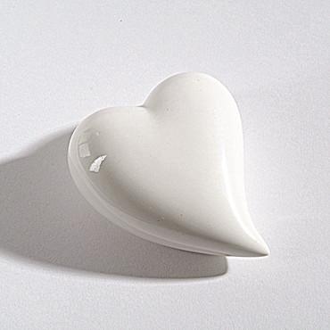 Porzellan Schrägherz 5 cm weiß