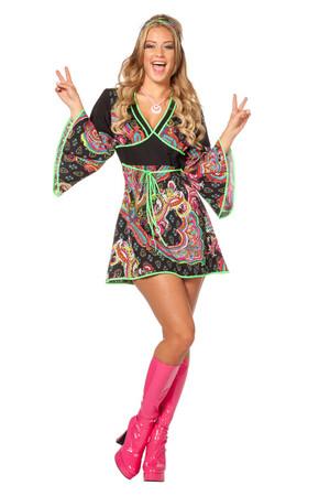 Hippie-Kleid schwarz-flieder – Bild 1