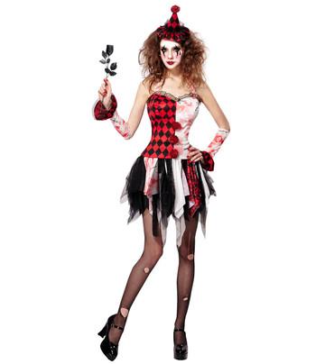 Kleid Horror-Harlekin mit Hut