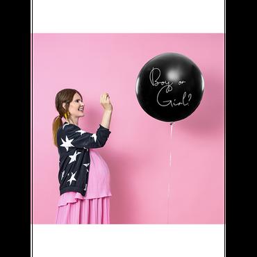 Riesenballon 'Boy or Girl' mit Konfetti rosa Baby Showe – Bild 2