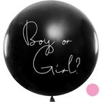 Riesenballon 'Boy or Girl' mit Konfetti rosa Baby Showe 001