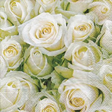 20 Servietten White Roses